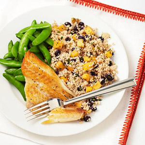 Snapper With Black Bean and Mango Couscous
