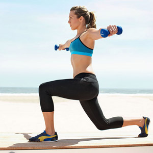 Reverse Lunge With Two-Way Raise