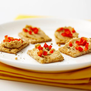 Hummus and Red Pepper Bites