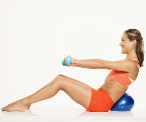 upright oblique twist A with dumbells and ball