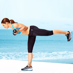 Jillian Michaels one legged curl with dumbells