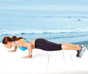 Jillian Michaels staggered pushup