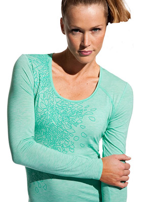 model in seafoam green top