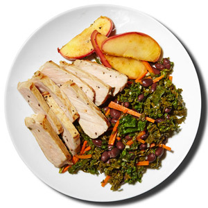 Pork With Baked Apples and Kale