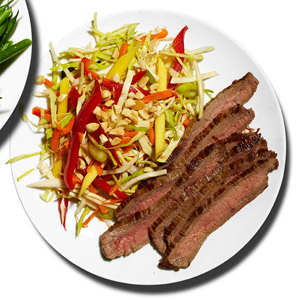 Flank Steak With Sweet-and-Spicy Slaw