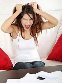 Woman stressed about bills