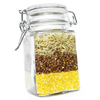 Jar of products with gluten