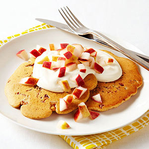 Apple-Walnut Pancakes With Brown Sugar Yogurt recipe