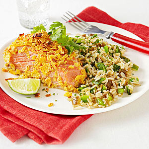 Tortilla-Crusted Salmon With Santa Fe Rice