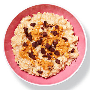 Oatmeal with peanut butter and chocolate