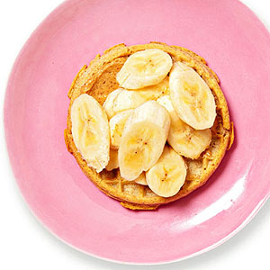 Waffle with sunflower butter and banana