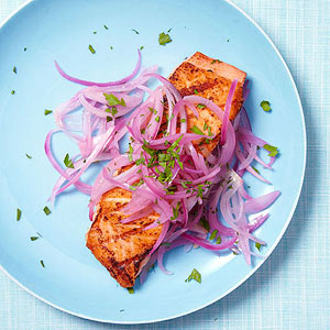 Salmon with Pickled Onions