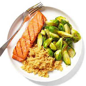 Salmon with quinoa and brussels sprouts