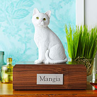 Cat figurine and urn