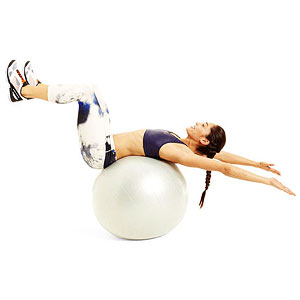 Wall curl-up exercise