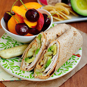 Turkey, avocado and hummus wrap
