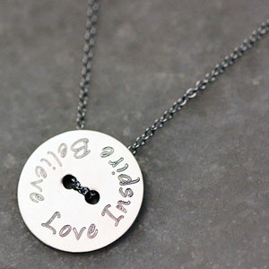 Custom Mantra Button Necklace