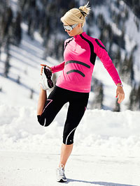 Woman running in the winter