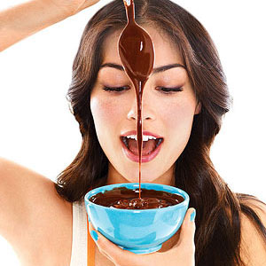 Woman with chocolate pudding