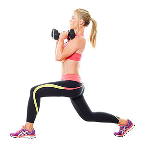 Jump lunge and curl exercise