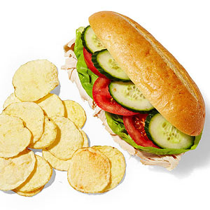 Turkey sandwich and chips