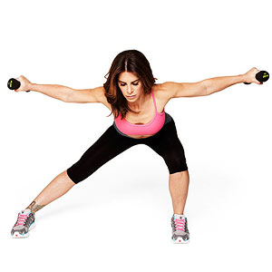 Alternating Side Lunge with Reverse Flye