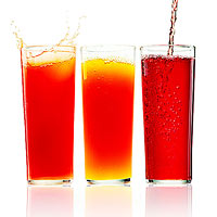 Juices in glasses
