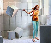 Girl tossing cube
