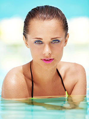 Girl in water bold makeup