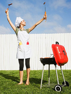 Woman grilling