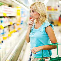 Woman shopping at the grocery store