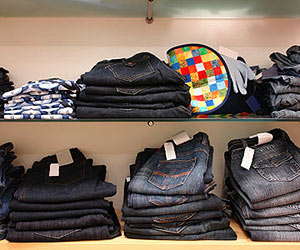 Jeans on shelves