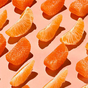 Rows of orange pieces