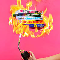Diet books being lit on fire