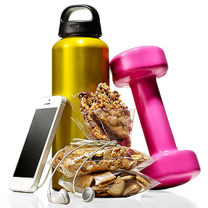 Water bottles, dumbbell, iphone, headphones, pre-workout snacks