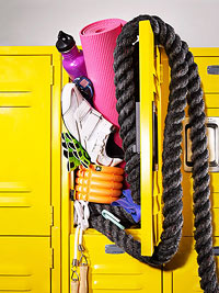 Gym locker overstuffed with fitness equipment