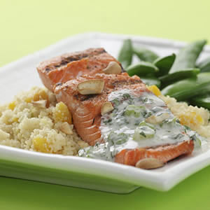 Cashew Salmon with Apricot Couscous, baked fish recipes, healthy fish recipes, fish recipe, easy fish recipes, best fish recipes, recipes for fish, salmon recipes, grilled fish, cooking fish, fish dinner recipes