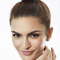 Woman with thick eyebrows