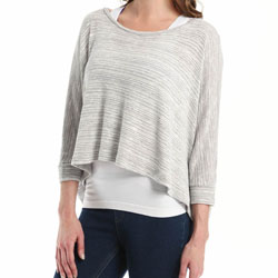 Beyond Yoga Variegated Boatneck Pullover Sweater