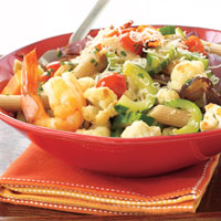 Wheat Penne with Roasted Vegetables and Shrimp