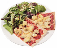 Two-Cheese and Artichoke Flatbread Pizza With Garden Salad