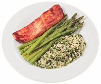 Barbecue Salmon With Herbed Couscous and Asparagus