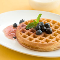 Waffle with Fresh Blueberries & Lemon Syrup