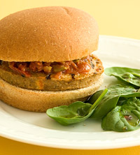 Bruschetta Burger with Spinach Salad