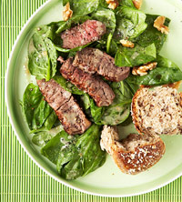 Steak Salad with Lemon-Walnut Vinaigrette and Whole Grain Roll