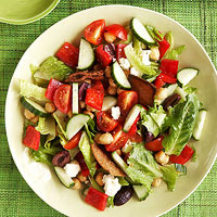 Greek Salad with Pita Croutons
