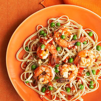 Whole-Wheat Fettuccine With Shrimp and Peas