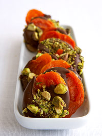 Dark Chocolate, Pistachio Covered Apricots