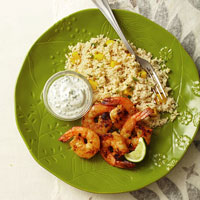 Grilled Curried Shrimp With Mango Couscous