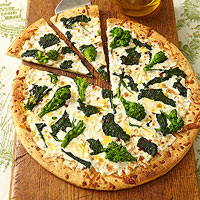 Broccoli Rabe and Smoked Mozzarella Pizza